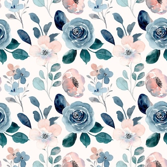 Blue peach watercolor floral seamless pattern