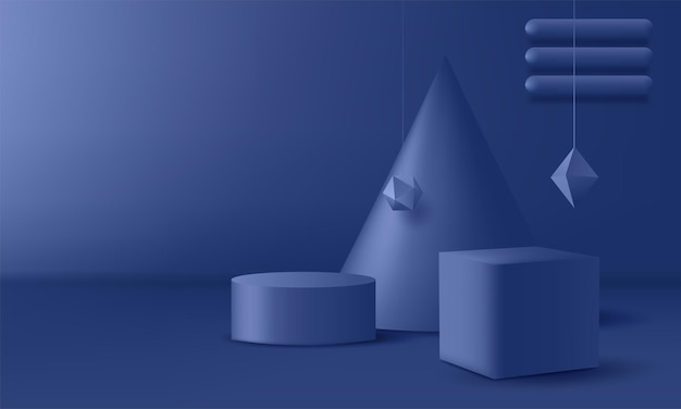 Blue pedestal on an abstract background