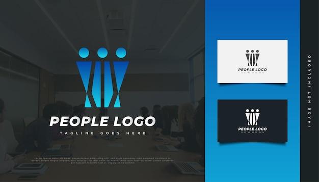 ブルーピープルのロゴデザイン。人、コミュニティ、ネットワーク、クリエイティブハブ、グループ、ソーシャルコネクションのロゴまたはビジネスアイデンティティのアイコン