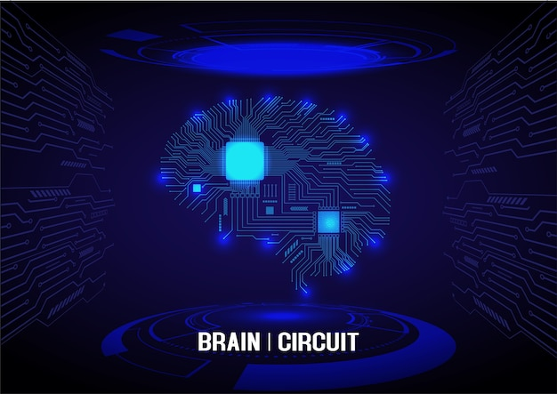 Blue perspective brain circuit electric
