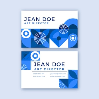 Blue petals and circles business card template