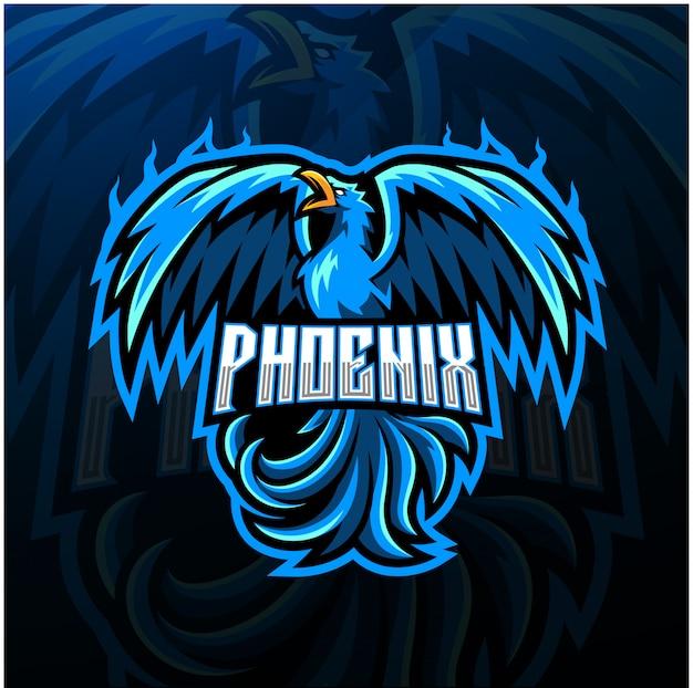 Синий феникс эспорт талисман дизайн логотипа