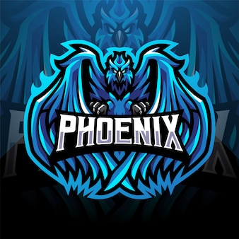 Blue phoenix esport mascot logo design