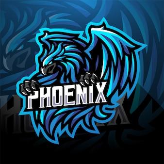 Blue phoenix sport mascot logo design