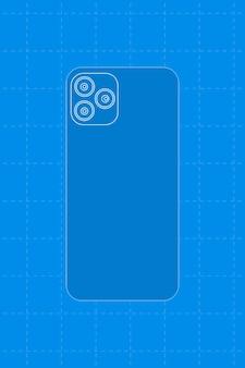 青い電話、3つのリアカメラ、ベクトル図