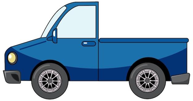 흰색 배경에 고립 된 만화 스타일의 블루 픽업 자동차