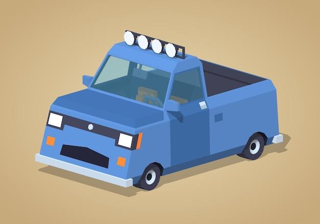 青いピックアップトラック