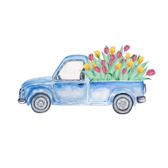 チューリップと青いピックアップヴィンテージトラック