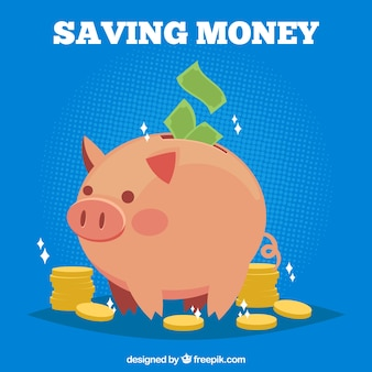 Blue piggy bank background with banknotes and coins
