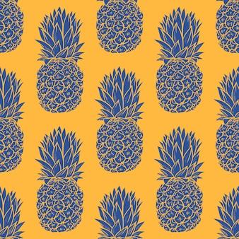 Бесшовный узор синие ананасы на оранжевом фоне