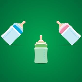 青、ピンク、緑の哺乳瓶