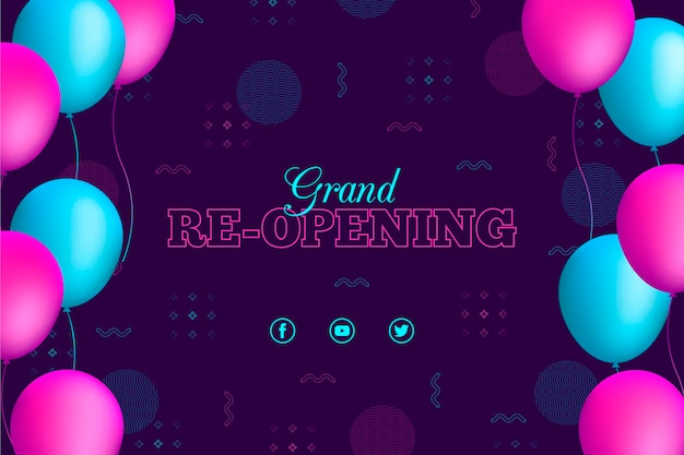 Blue and pink balloons re-opening soon background