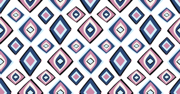 Blue pink black geometric seamless pattern in african style