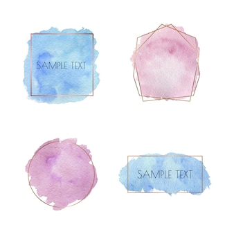 Blue and pink brush stroke watercolor texture with golden lines polygonal frames. geometric shape with watercolor washes.