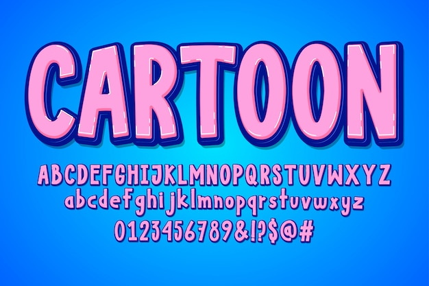 Blue and pink cartoon alphabet
