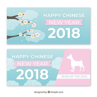 Blue and pink chinese new year banners