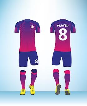 ブルーピンクの色のフットボールのtシャツモックアップ