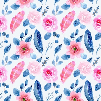 Blue pink floral and feather watercolor seamless pattern