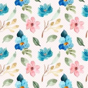 Blue pink floral watercolor and dot seamless pattern