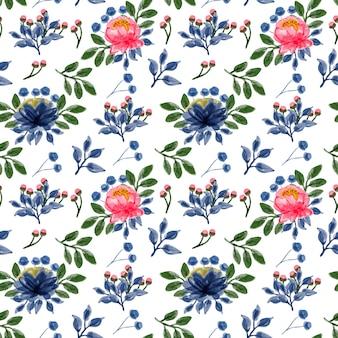 ブルーピンクの花の水彩画のシームレスなパターン