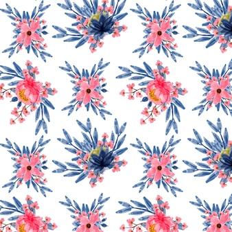 ブルーピンクフローラル水彩シームレスパターン