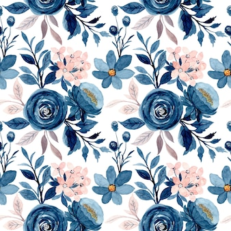 Blue pink floral watercolor seamless pattern