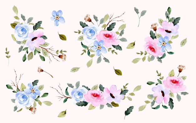 Коллекция акварельных композиций из голубого и розового цветов