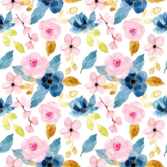 Blue pink flower pattern with watercolor
