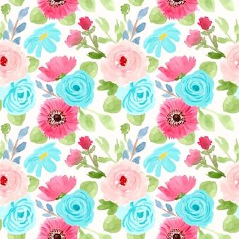 파란색과 분홍색 꽃 수채화 원활한 패턴
