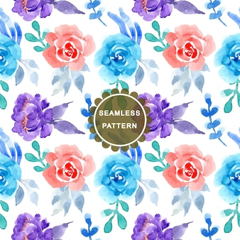 Blue and pink flower watercolor seamless pattern