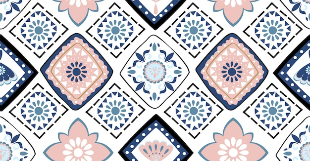 Blue and pink geometric seamless pattern
