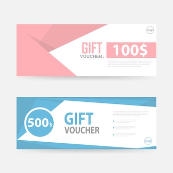 Blue and pink gift voucher banner templates