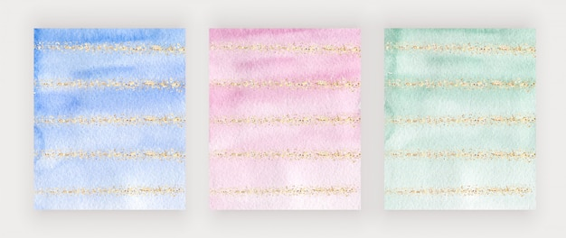 Blue, pink and green watercolor cover design with gold glitter texture, confetti