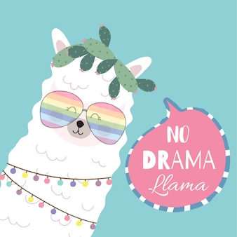 Blue pink hand drawn cute card with llama, glasses, heart. no drama llama