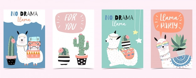 Blue pink hand drawn cute card with llama