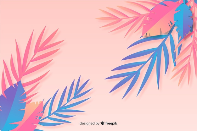 Blue and pink leaves background in paper style