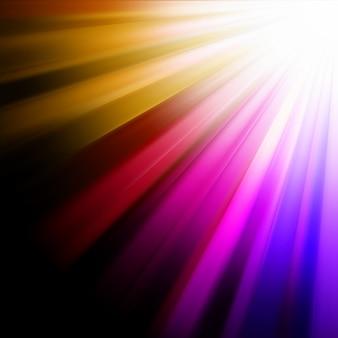 青、ピンク、オレンジの光線。