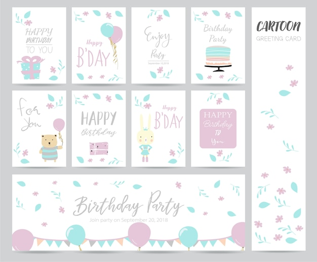 Blue pink pastel greeting card with cake, bear, flower and gift