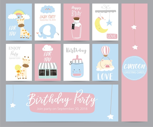 Blue pink pastel greeting card with girafffe, cafe, moon, elephant, star and pig