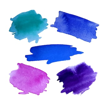 Blue pink purple green watercolor brushstroke collection isolated on white background