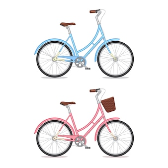 Blue and pink retro bicycle with basket isolated on white background. colorful bike.