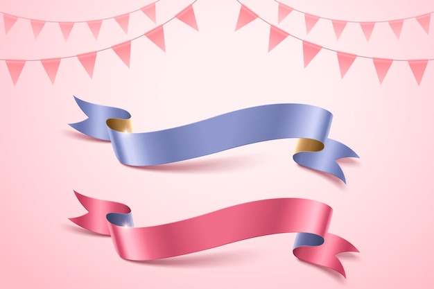 Blue and pink ribbons on flags background