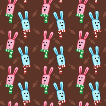 Blue pink scarf bunny carrot pattern