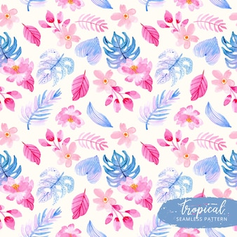 Blue pink tropical summer plant watercolor seamless pattern