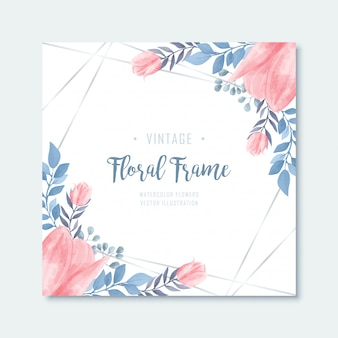 Blue pink watercolor floral flowers frame background
