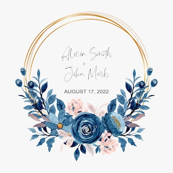 Blue pink watercolor floral wreath with golden frame