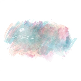 Blue and pink watercolor painted vector stain isolated