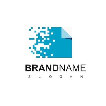 Blue pixel document logo design vector