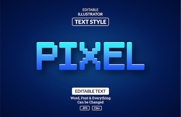 Синий пиксельный игровой эффект, редактируемый текстовый эффект