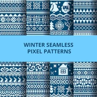 Blue pixel patterns for winter